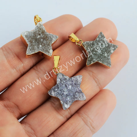 Gold Plated Star Agate Druzy Pendant G2023
