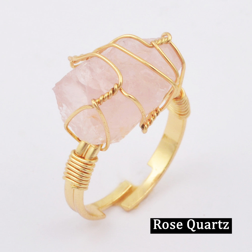 Natural Gemstone Wire Wrap Gold Ring WX1796