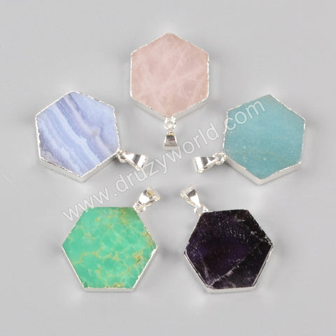 925 Sterling Silver Hexagon Multi-Kind Stone Pendant Bead SS066