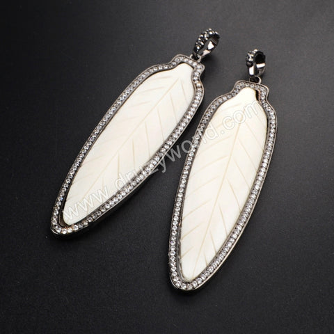 Small Size Black Plated Natural White Bone Carved Leaf Pendant Bead Paved Zircon WX079