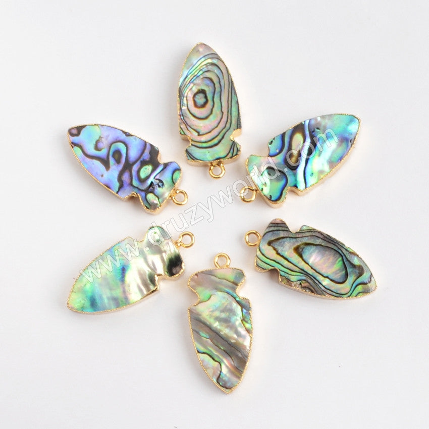 Gold Plated Natural Arrow Abalone Shell Charm G0860