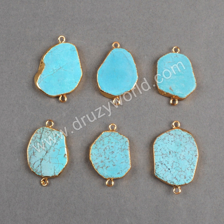 Gold Plated Blue Howlite Turquoise Connector G0333