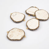 Rhinestone Pave Freedom Natural White How-lite Turqouoise  Connector JAB631