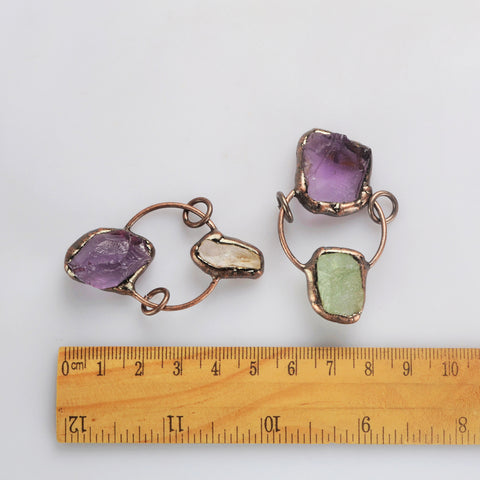 Amethyst + Multi-kind Stone Connector WX1880