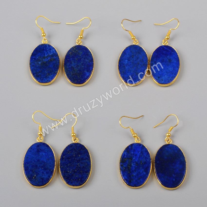 Gold Plated Natural Oval Lapis Lazuli Slice Dangle Earring G0999