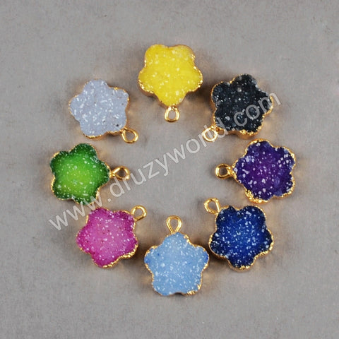 12mm mini cute flower shape druzy quartz pendant