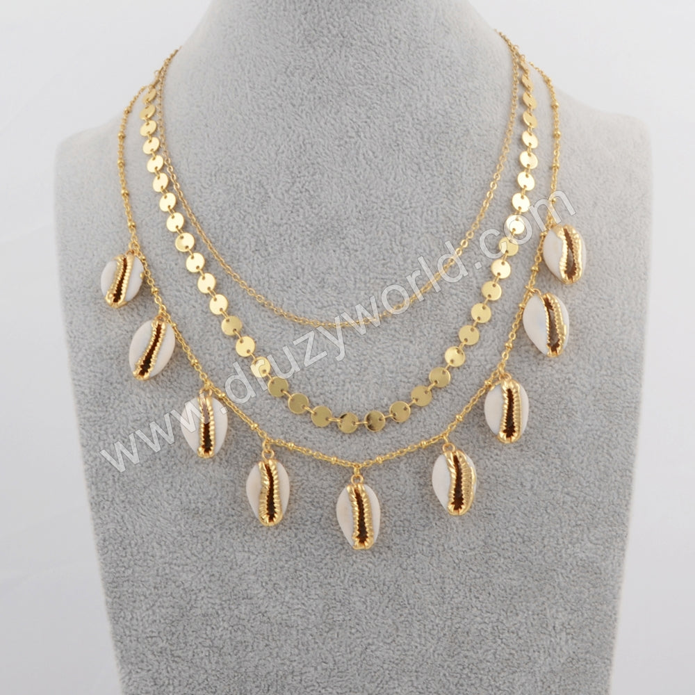Gold Plated Cowrie Shell Three Layer Necklace G1736
