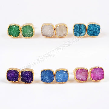 Gold Plated Square  Colorful Agate Druzy Geode Stud Earring