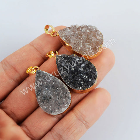 Gold Plated Drop Agate Druzy Pendant G2021