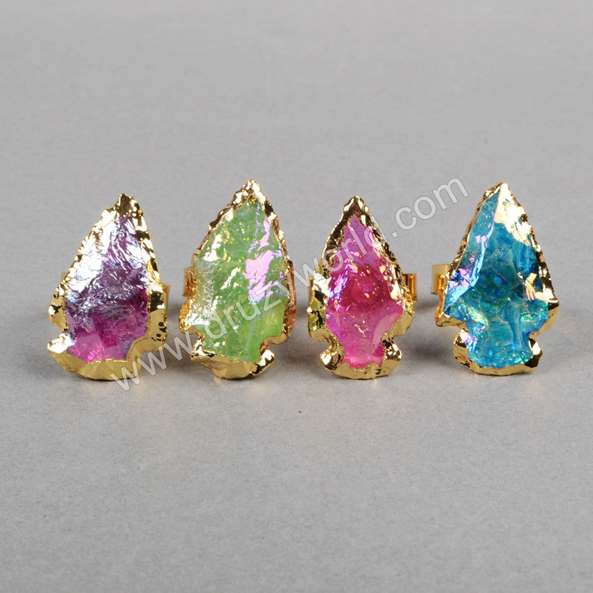 Arrowhead Gold Plated Rainbow Titanium Quartz Ring G0826