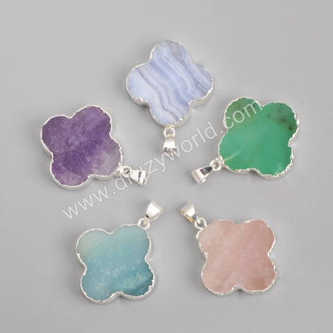 925 Sterling Silver Clover Multi-Kind Stone Pendant Bead SS099