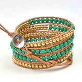 Hand Made Gypspy Bohemian Leather Gemstone Beaded Wrap Bracelet HD0104