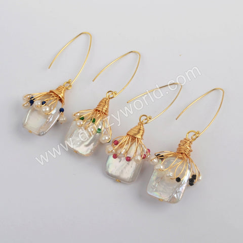 Gold Plated Natural Pearl With Multi CZ Charm Earrings WX1277-E