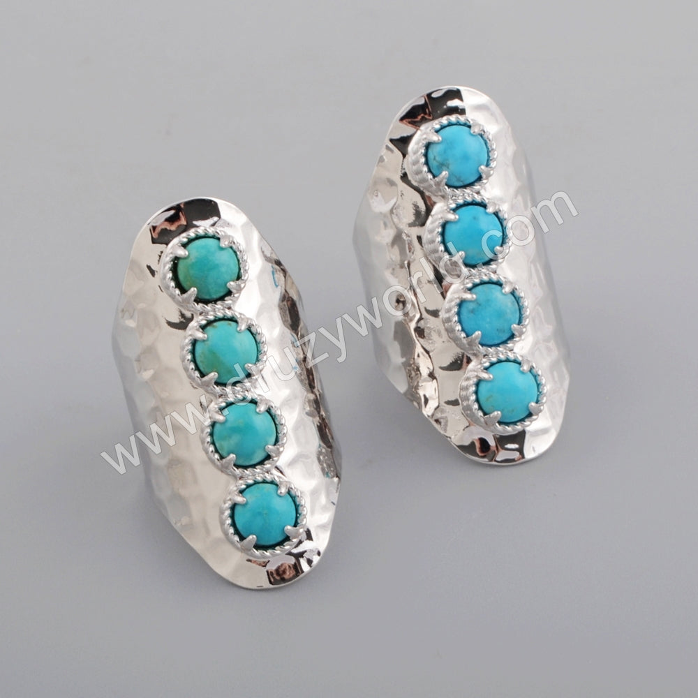 Gold Plated Round Four Natural Turquoise Band Ring ZS0337