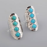 Four Natural Turquoise Band Statement Ring Silver Plated ZS0337