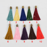 "10pieces/lot,2.5"" Gold Plated Cap Rainbow Thread Tassel Charm PJ049"