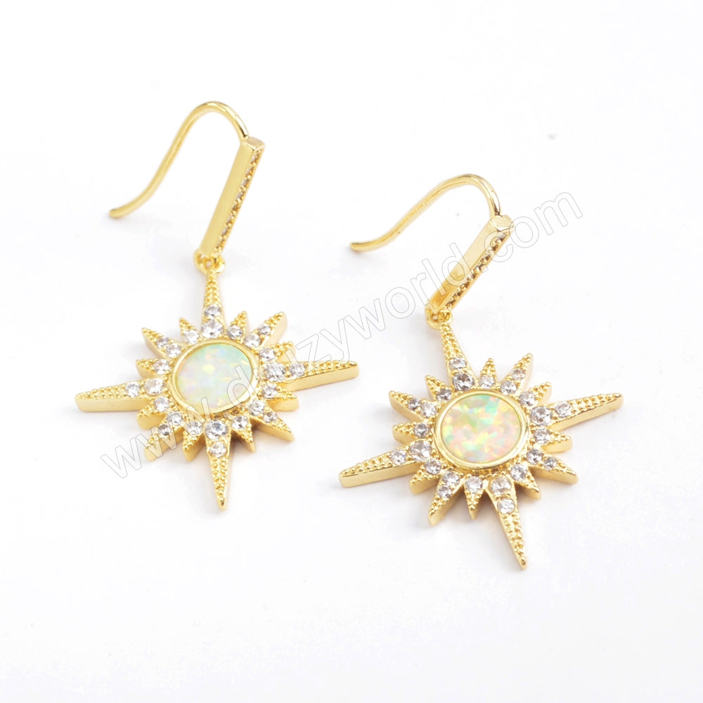 Star Gold Plated CZ Micro Pave Blue Opal Druzy dangle Earring ZG0391