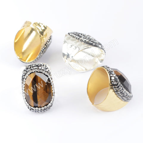 Gold Plated Rhinestone Pave Natural Tiger Eye Ring In Silver JAB949