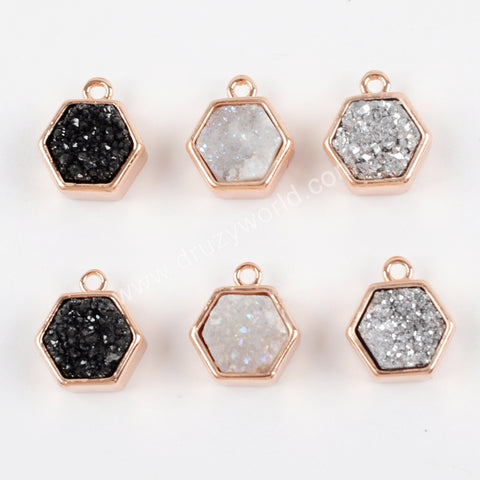 Hexagon Rose Gold Plated Bezel Natural Agate Titanium Rainbow Druzy Charm Pendant Bead ZR0139