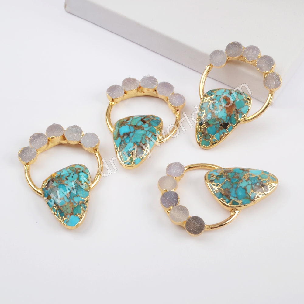 Gold Plated Five Round Natural Agate Druzy & Copper Turquoise Charm G1834