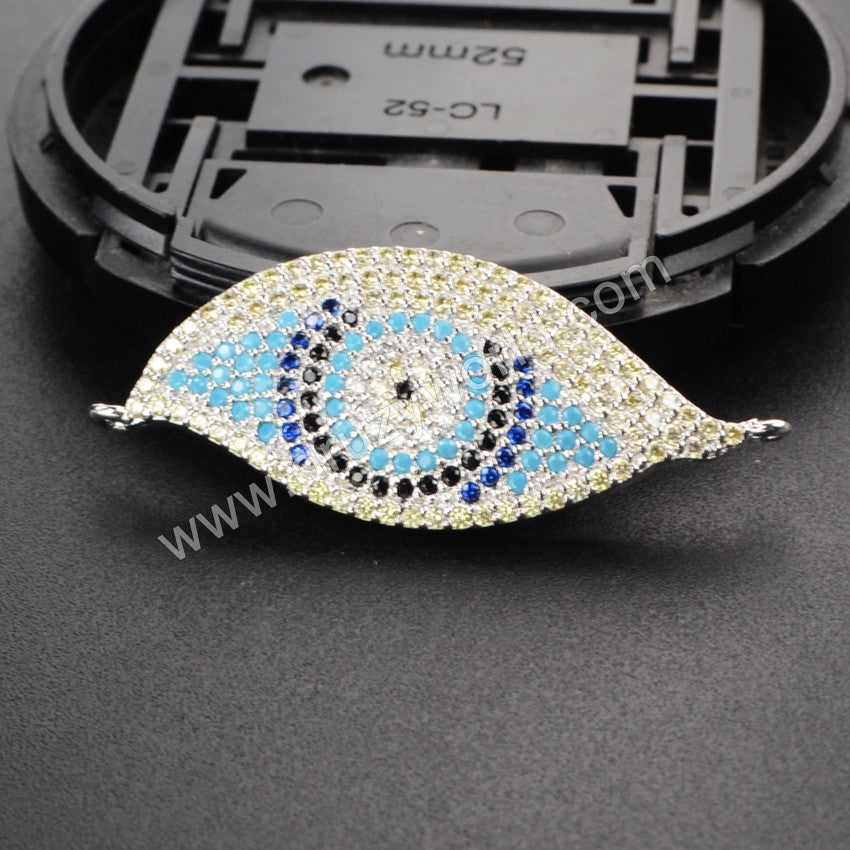 CZ Cubic Zirconia Evil Eye Connector Or Evil Eye Pendant WX117
