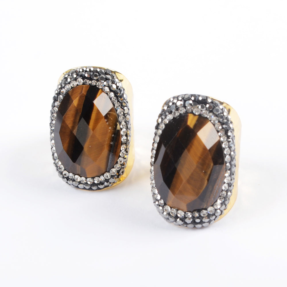 9.0 Large Size Stainless Steel Gold Tiger Eye Ring