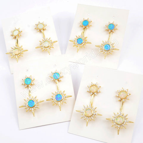 Double Star Gold Plated CZ Micro Pave White Opal Druzy Studs Earring ZG0392