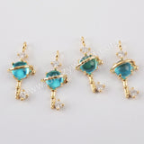10pieces CZ Micro Pave Glass Charm Making Jewelry Supply Gold Plated Brass PJ437
