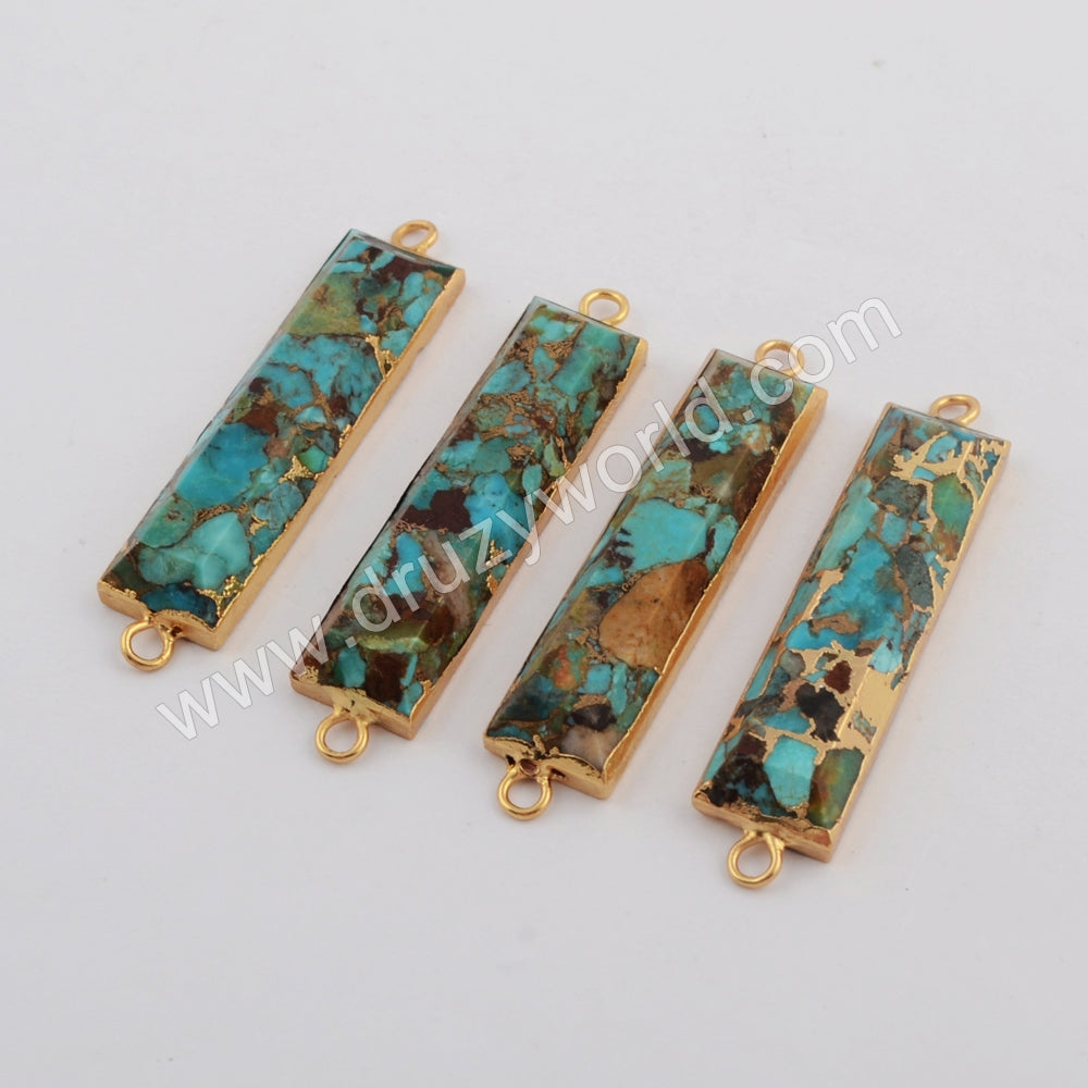 Natural Copper Turquoise Faceted Gemstone Connector Silver Plated S1763