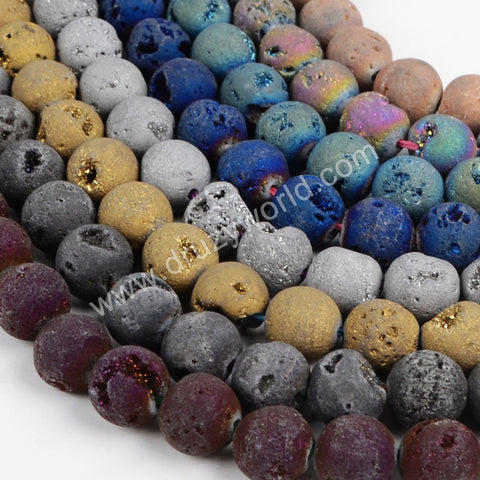 12mm Round Rainbow Natural Titanium Druzy Loose Bead LS007