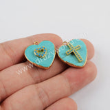 Heart Gold Plated Natural Turquoise With Multi-shape Charm G1801