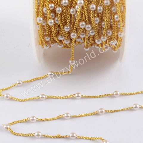 Natural Pearl Rosary Chains In Gold Plated Jewelry Necklace JT270