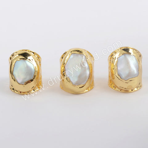 Gold Plated Natural Fresh Water Pearl Ring For Women Handmade Outfit Jewelry G1880