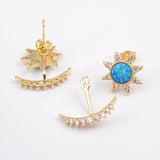 Gold Plated Bezel Star Blue Opal CZ Moon Studs ZG0217