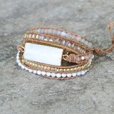 Strands Gold Selenite Gemstone Bead Black Wrap Bracelet HD0083