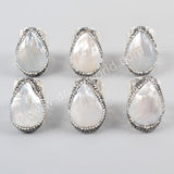Silver Plated Rhinestone Pave Natural White Shell Ring JAB950