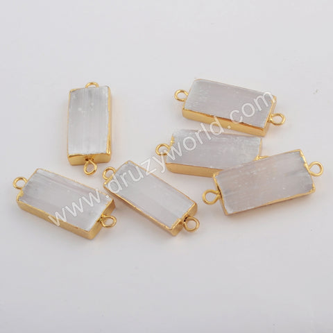 Rectangle Gold Plated Selenite Stone Connector G1764