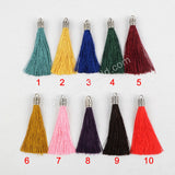 "10pieces/lot,3"" Silver Plated Cap Rainbow Thread Tassel Charm PJ050"