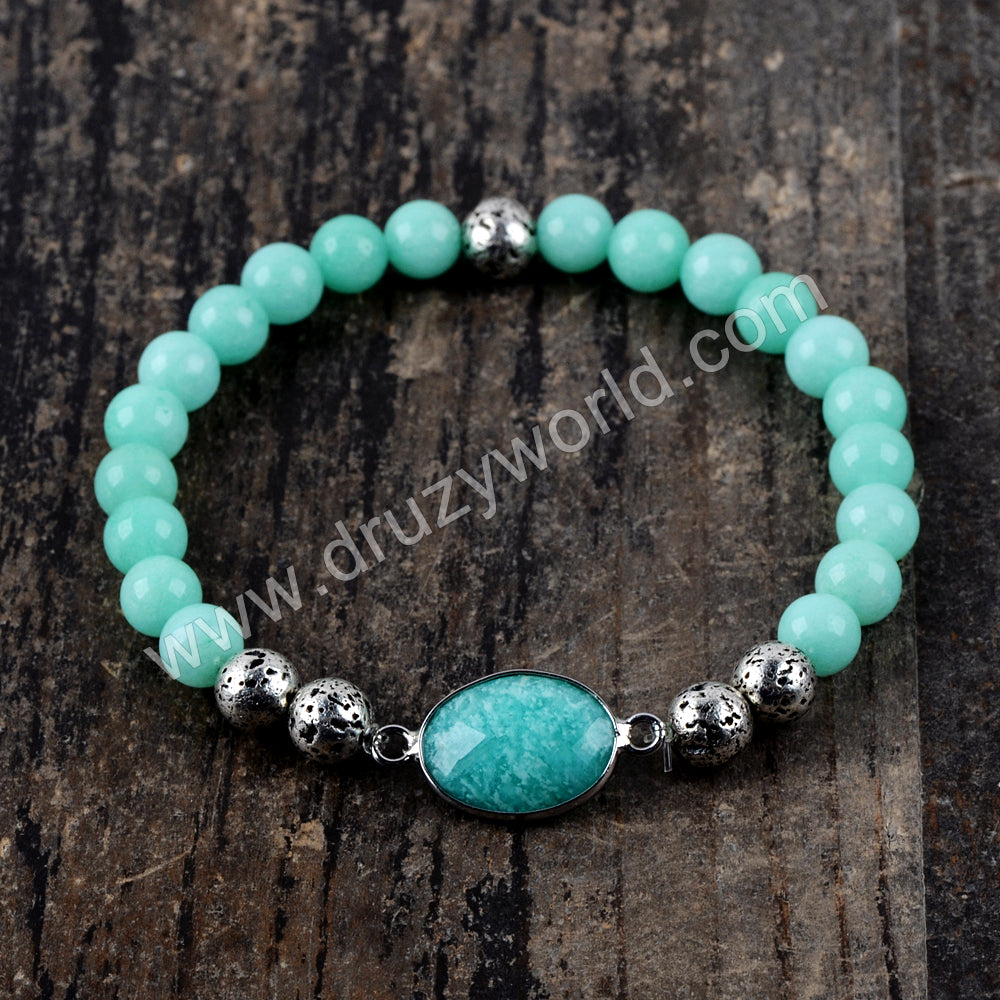 Amazonite Agate Beads Bracelet Fashion Jewelry Silver Plated HD0224