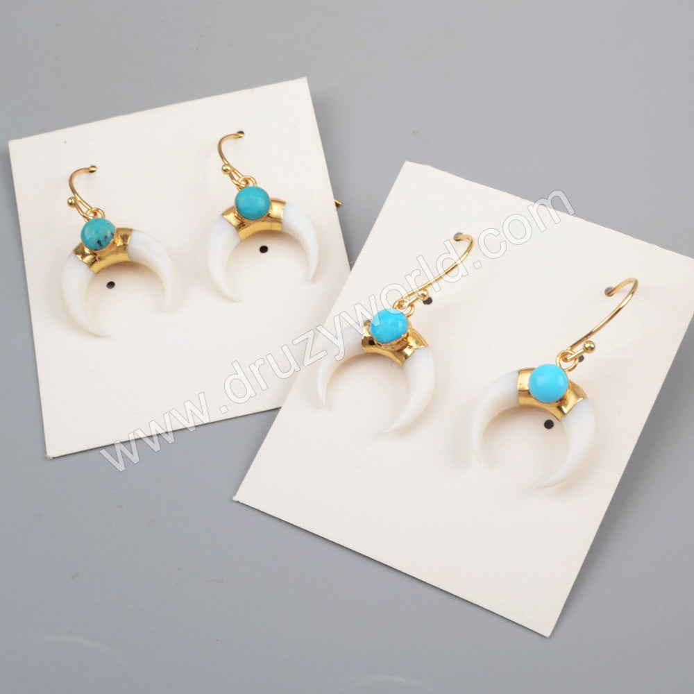 Horn Gold Plated White Shell & Round  Turquoise Earrings G1835
