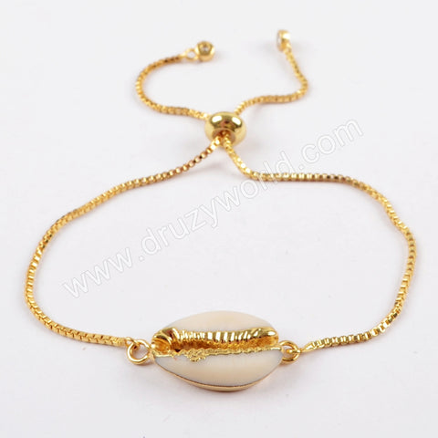 Rose Gold/Gold/Silver Plated Cowrie Shell Adjustable Chain Bracelet G1621