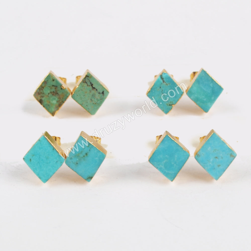 Diamond Gold Plated Natural Turquoise Stud Earrings G1321