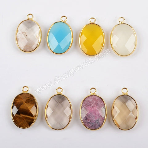 Gold Plated Oval Multi Kind Stones Faceted Charm G1443