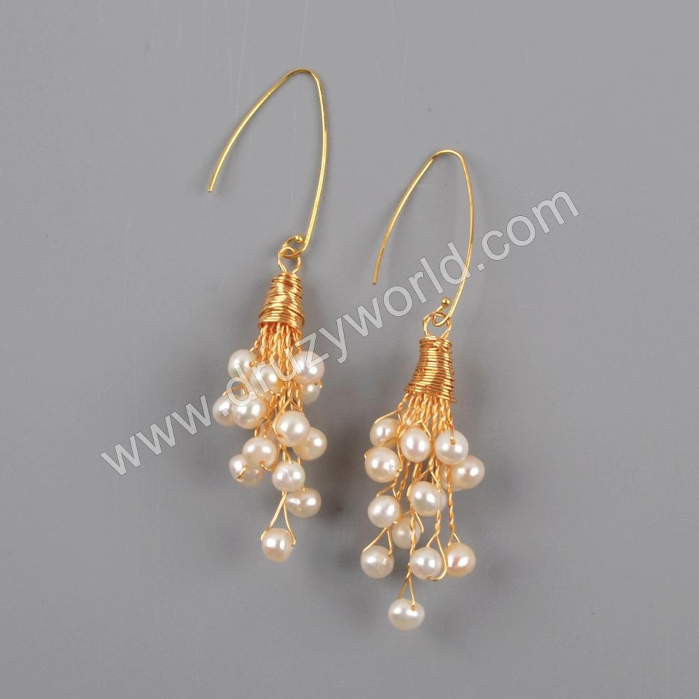 Gold Plated Natural Pearl With Multi CZ Charm Earrings WX1278-E