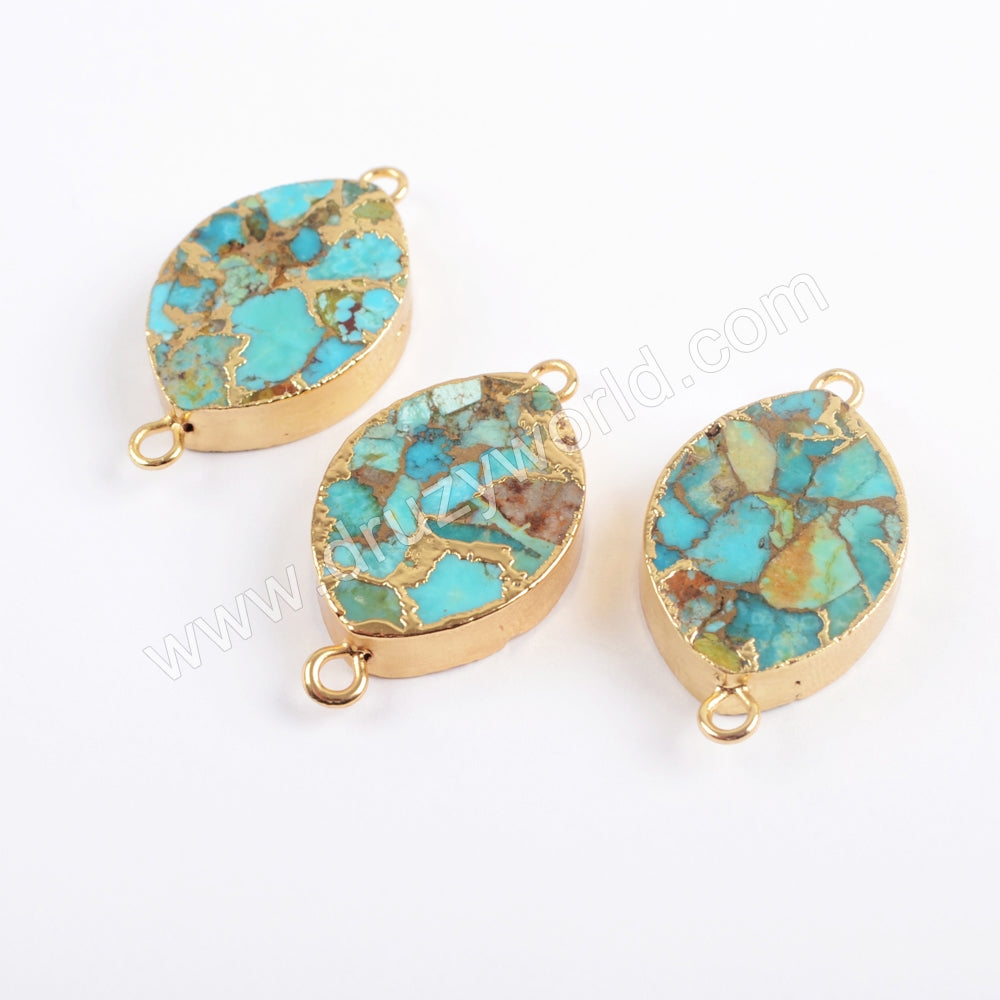 Marquise Gold Plated Copper Turquoise Connector G1701