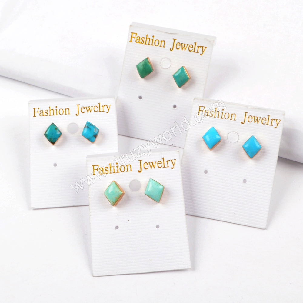 Gold Plated Diamond Shape Natural Turquoise Studs G1521