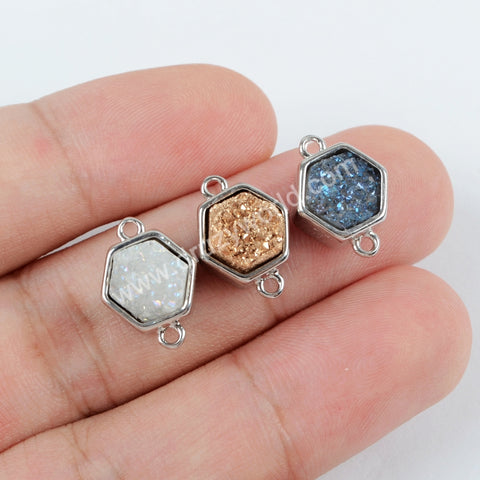 10 Pcs Mystic Brown Druzy Druzzy Drusy Bezel Oval 925 Sterling Vermeil Double Bail Connector 18mmx10mm SS215