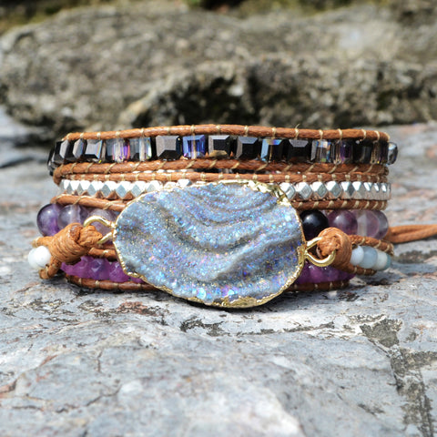 Boho Gold Plated Natural Druzy Stone Beads Bracelet Vintage Leather Wrap Bracelet  HD0047