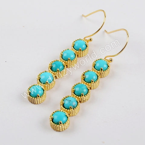 Gold Plated Bezel Five Round Natural Turquoise Bar Earrings ZG0336