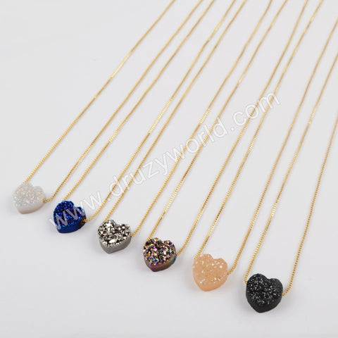 Rainbow Heart Shape Titanium Raw Druzy Adjustable Necklace Gift For Her G1889
